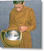 Young Monk Begging Alms And Rice, Thailand Metal Print