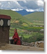 Young Monk Looking Over His Shoulder Metal Print