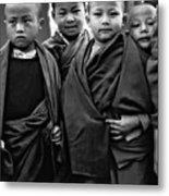 Young Monks II Bw Metal Print