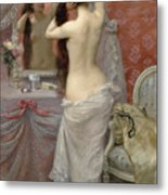 Young Nude Woman Styling In An Interior Metal Print