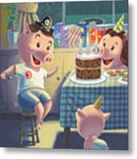 Young Pig Birthday Party Metal Print by Martin Davey