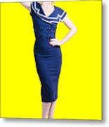 Young Retro Pinup Girl Wearing Sailor Uniform Metal Print