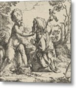 Young Saint John The Baptist Kneeling Before The Infant Christ Metal Print