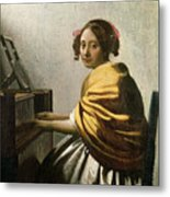 Young Woman At A Virginal Metal Print
