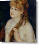 Young Woman Braiding Her Hair Metal Print by Pierre Auguste Renoir