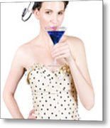 Young Woman Drinking Alcoholic Beverage Metal Print