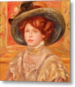 Young Woman In A Blue Hat Metal Print by Pierre Auguste Renoir