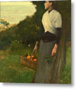Young Woman In A Garden Of Oranges Metal Print
