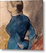 Young Woman In Blue Metal Print