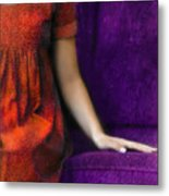 Young Woman In Red On Purple Couch Metal Print by Jill Battaglia