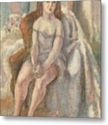 Young Woman In White Chemise Metal Print