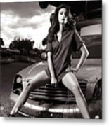 Young Woman Sitting On A Crashed Car Metal Print
