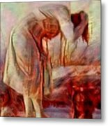 Young Woman Washing River Bent Over Old Master Sketch Painting In Orange Blue Oil-like Acrylic Warm Paint Metal Print