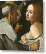 Young Woman With A Fortune Teller Metal Print