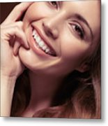Young Woman With A Natural Smile Metal Print
