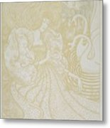 Young Woman With Butterfly Metal Print