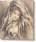 Young Woman With Her Head Covered Metal Print