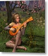 Young Women Playing The Lute Metal Print
