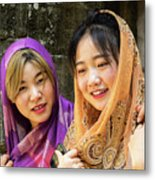 Young Women Silk Scarves 01 Metal Print