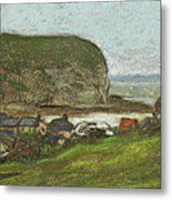 Yport And The Falaise D'aval Metal Print