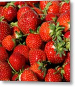 Yummy Fresh Strawberries Metal Print