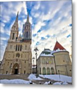 Zagreb Cathedral Winter Daytime View Metal Print
