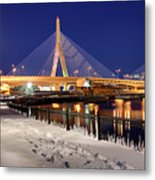 Zakim Bridge In Winter Metal Print