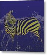 Zebra At Night Metal Print