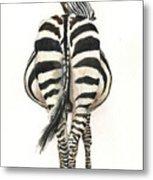 Zebra Back Metal Print