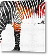 Zebra Black White And Red Orange By Sharon Cummings  Metal Print