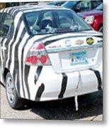 Zebra Car Rear Metal Print