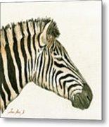 Zebra Head Study Painting Metal Print