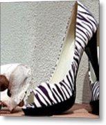 Zebra Heels And Skull Metal Print