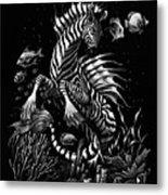 Zebra Hippocampus Metal Print