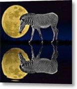 Zebra Moon Metal Print