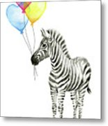 Baby Zebra Watercolor Animal With Balloons Metal Print