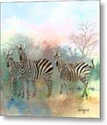 Zebras In The Mist Metal Print