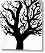 Zen Sumi Tree Of Life Enhanced Black Ink On Canvas By Ricardos Metal Print