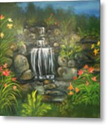 Zen Waterfall Metal Print