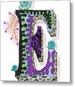 Zentangle Inspired E #4 Metal Print
