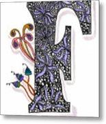 Zentangle Inspired F #2 Metal Print