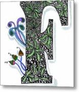 Zentangle Inspired F #3 Metal Print