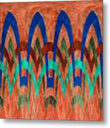 Zig Zag Pattern On Orange Metal Print