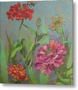 Zinnias With Bee Metal Print