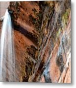 Zion Waterfall At Emerald Pools Metal Print