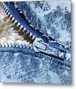 Zipper In Blue Metal Print