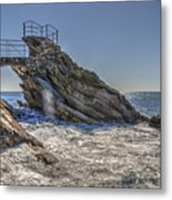Zoagli Cliffs With Waves And Passage Metal Print
