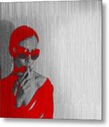 Zoe In Red Metal Print by Naxart Studio