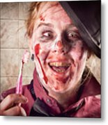 Zombie At Dentist Holding Toothbrush. Tooth Decay Metal Print