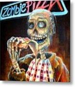Zombie Pizza Metal Print